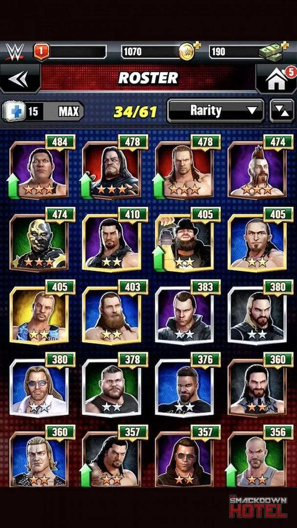 Level up in WWE Champions: Star Ranks, Enhancing, Evolving and Fusing