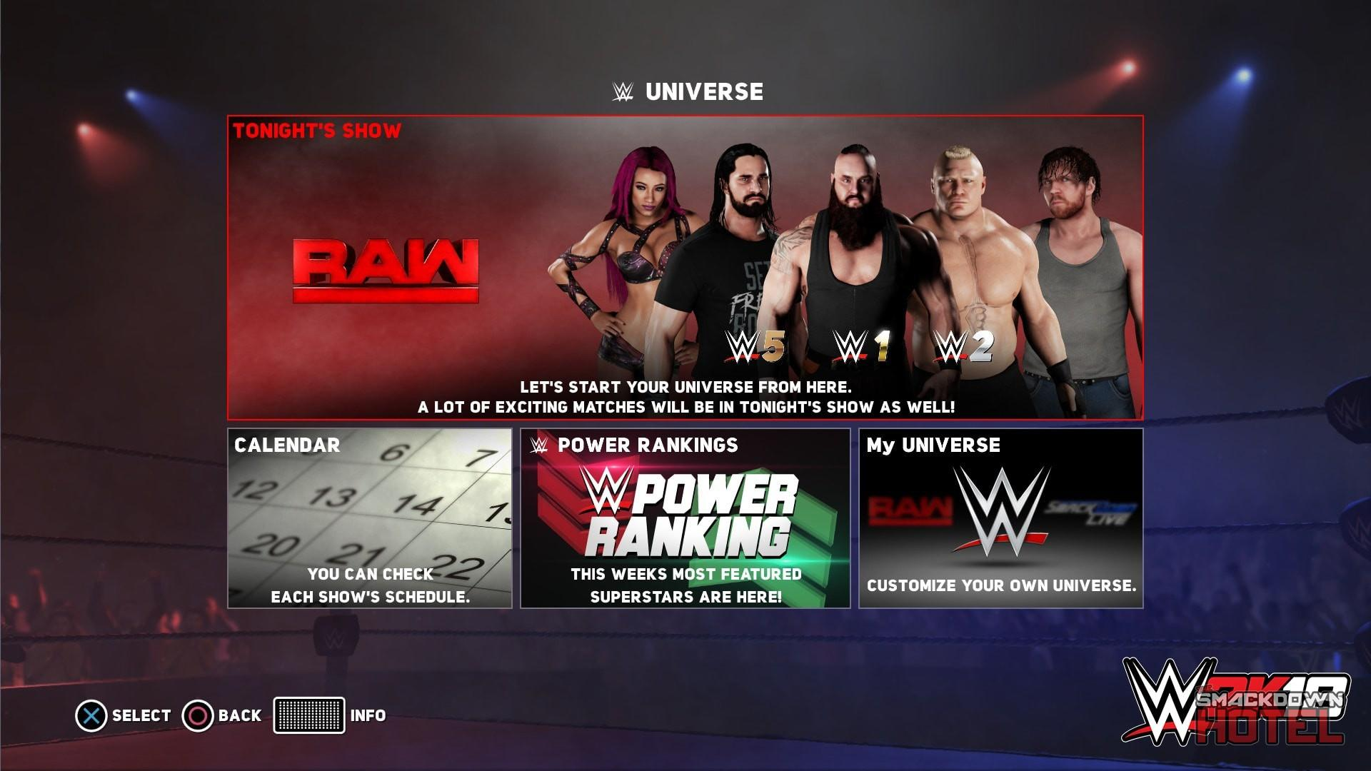 WWE2K18 Universe1 HomeScreen