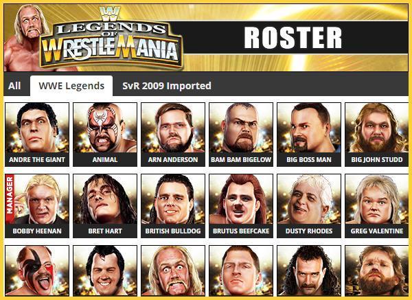 Wwe Legends Of Wrestlemania Roster