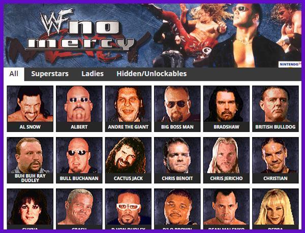 WWF No Mercy - Roster