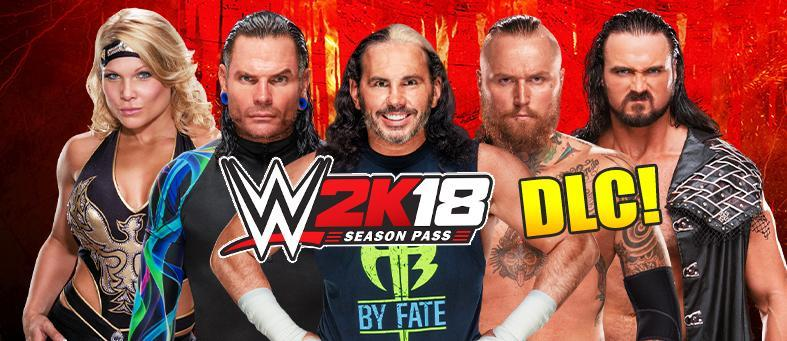 All the WWE 2K18 Downloadable Content information: additional Superstars, Pack Names, Prices, Release Dates and Season Pass. Including the Hardy Boyz, Drew McIntyre, Elias and more!