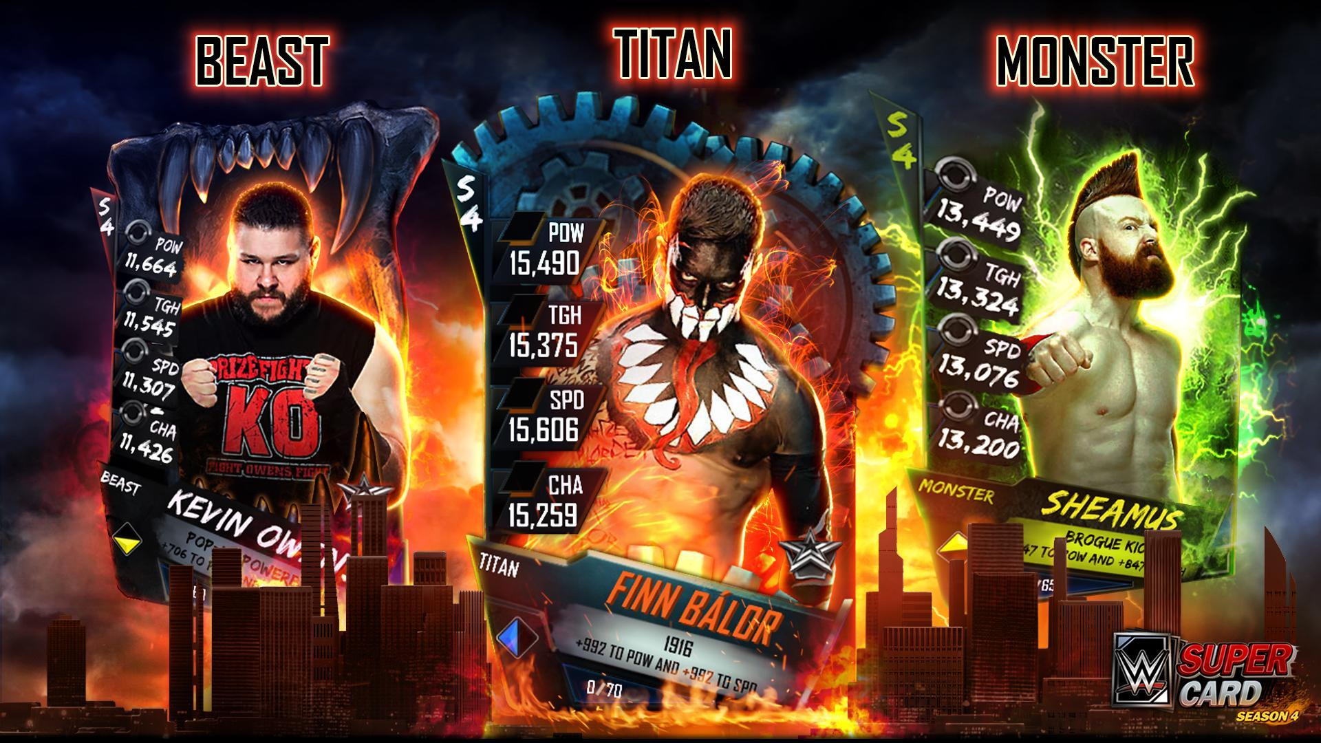 WWE SuperCard Season 4 - New Card Tiers Preview (Beast, Monster, Titan)