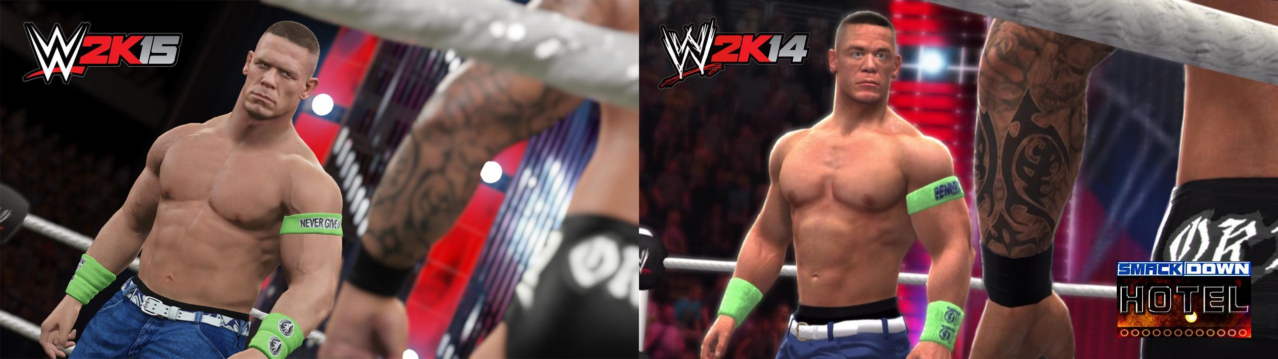 the john cena wwe2k15 screenshot recreated in 2k14 for comparison