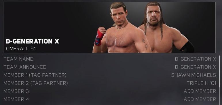 WWE 2K17 Default Tag Teams / Stables - Full List
