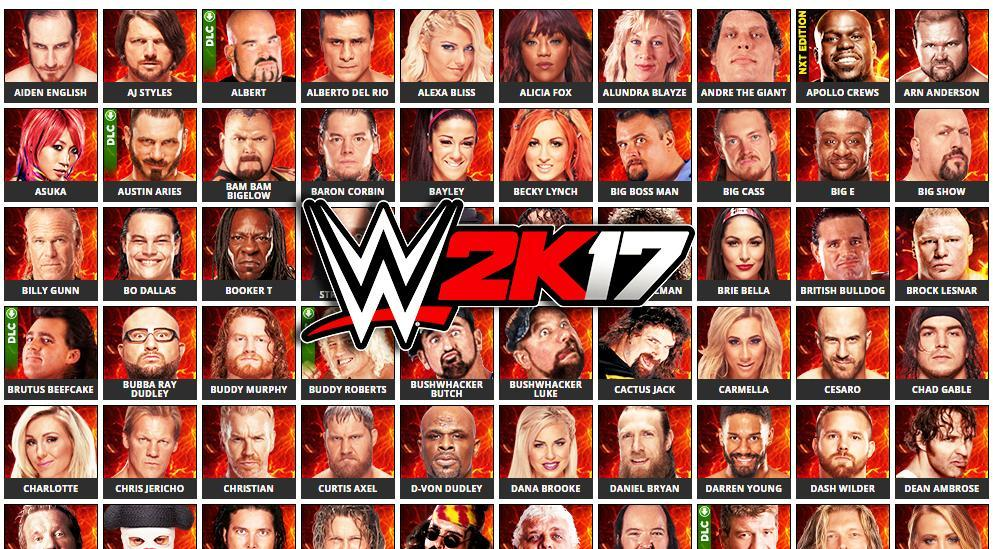 wwe 2k17 roster