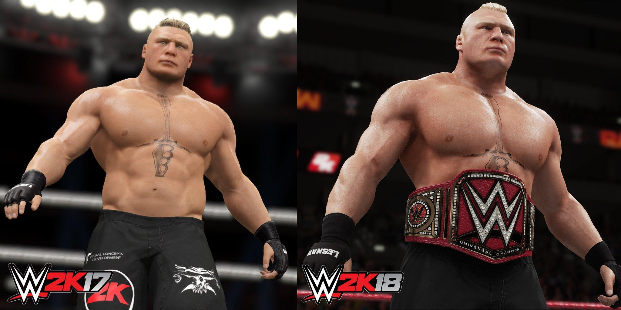 WWE2K18 vs 2K17 Brock Lesnar Graphics Comparison