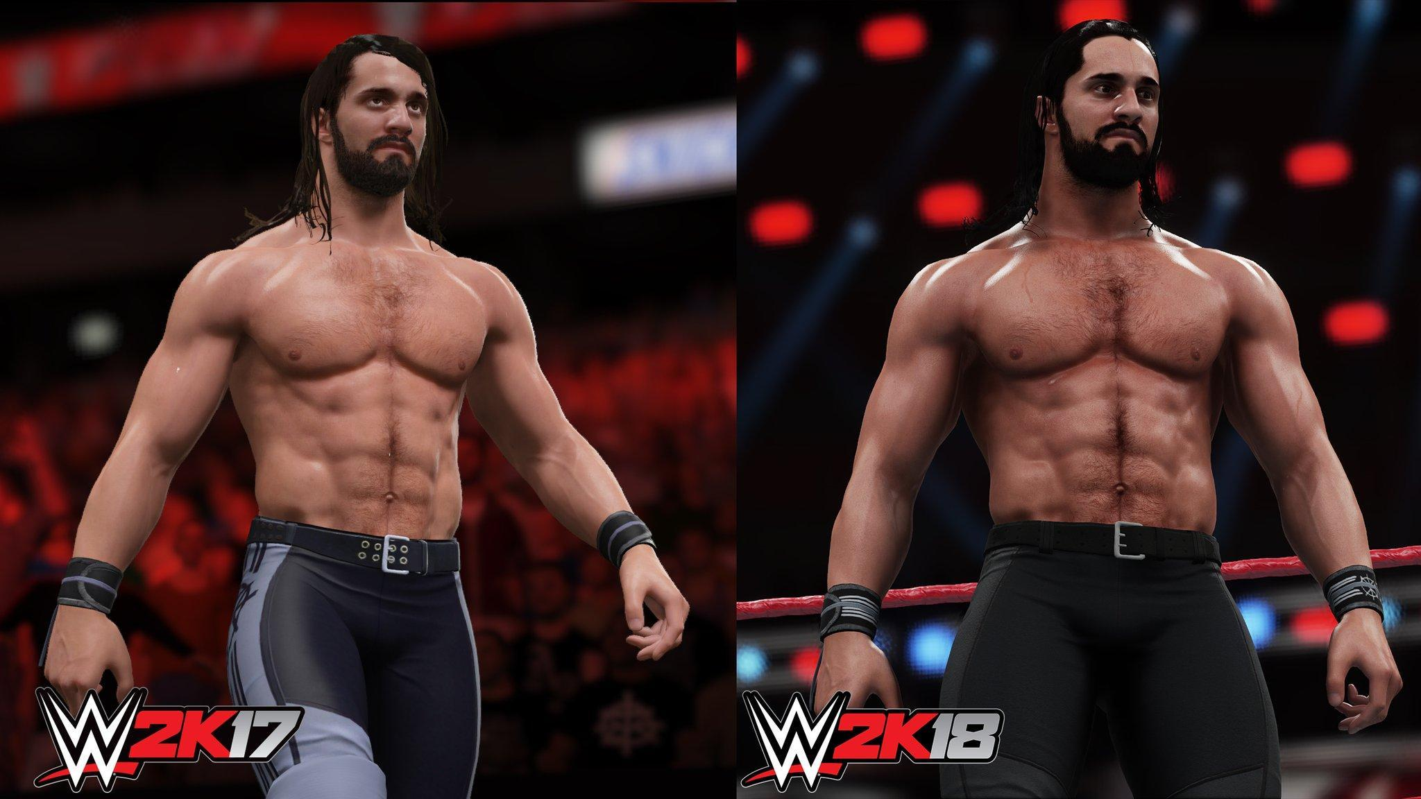 WWE2K18 vs 2K17 Seth Rollins Graphics Comparison