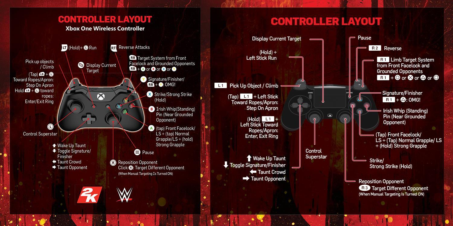 WWE 2K18 Full Game Manual and Pad Controls (PS4, Xbox One, PC)