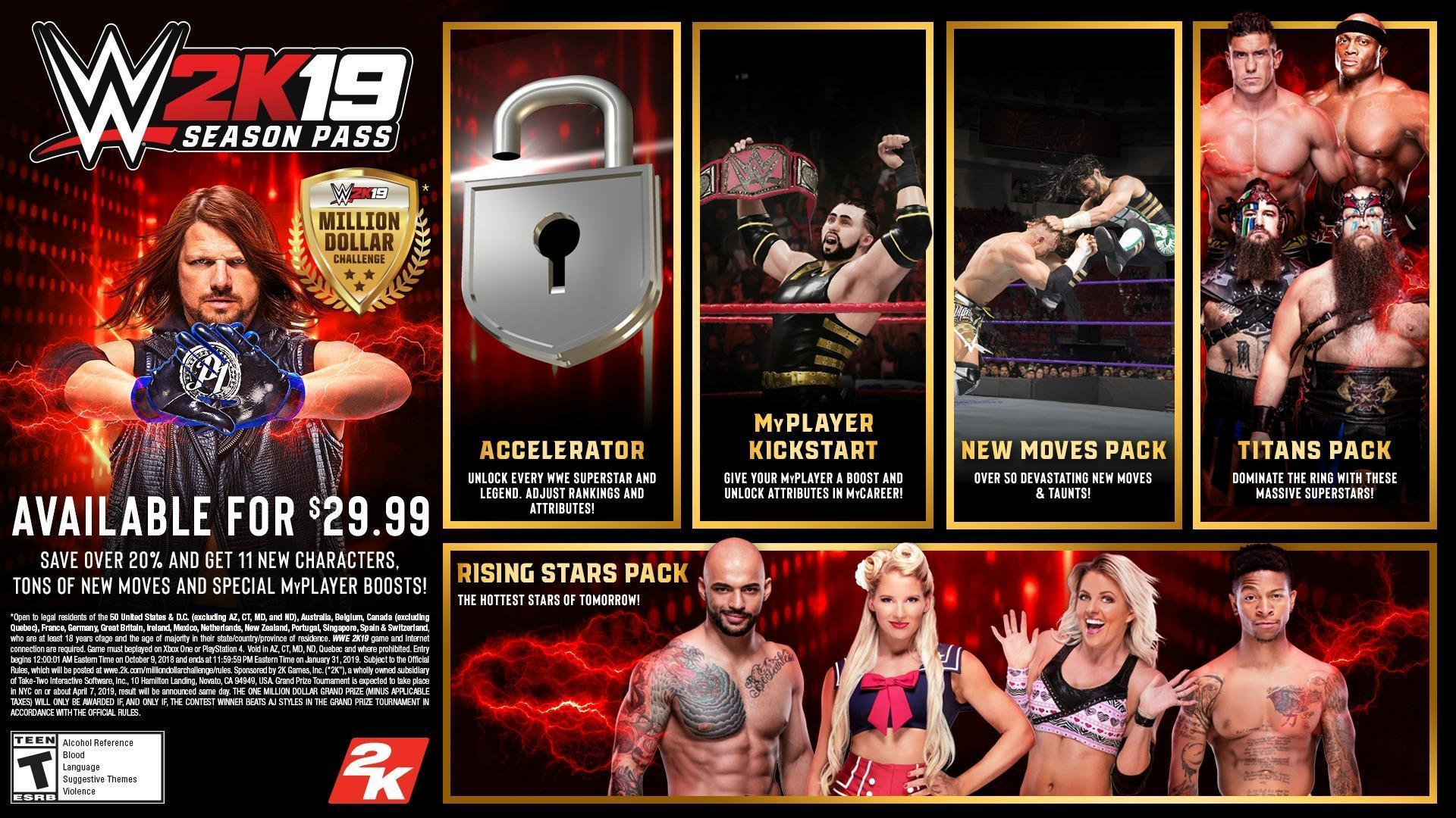 WWE 2K19 all dlc season pass infographic details