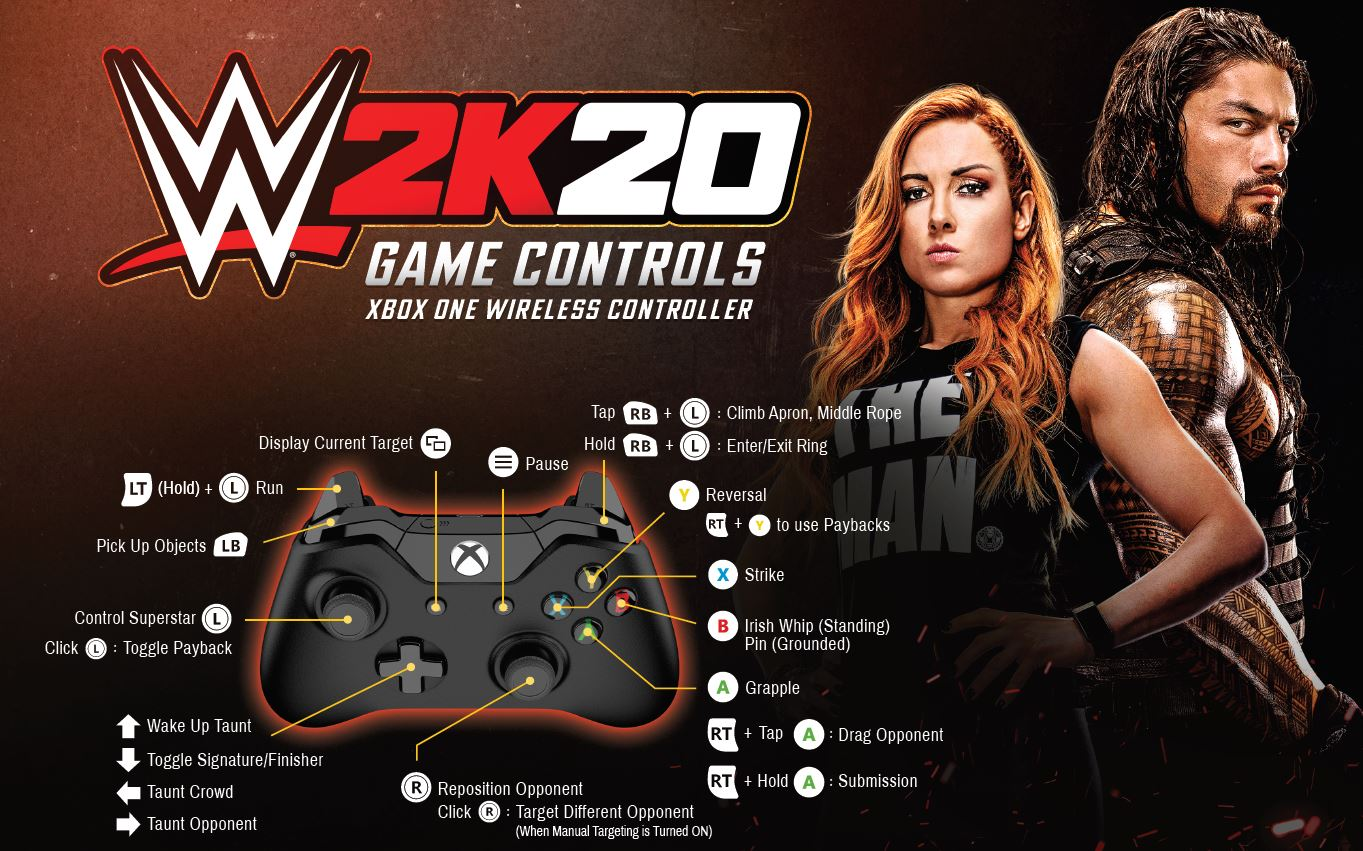 WWE 2K20 Controls Scheme Game Pad for Xbox One