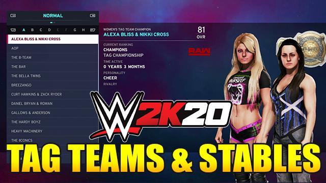 WWE 2K20 Default Tag Teams & Stables - Full List with Overalls