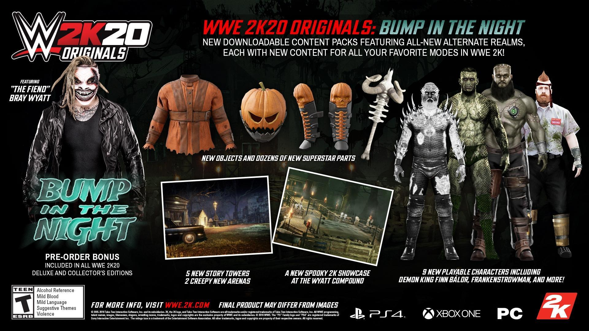 wwe 2k20 originals bump in the night infographic